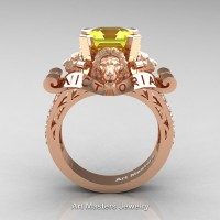 Victorian 14K Rose Gold 3.0 Ct Asscher Cut Yellow Sapphire Diamond Landseer Lion Engagement Ring R867LE-14KRGDYS