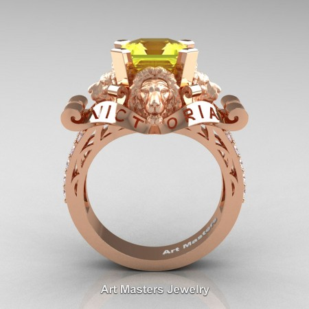 Victorian-14K-Rose-Gold-3-0-Carat-Asscher-Cut-Yellow-Sapphire-Diamond-Landseer-Lion-Engagement-Ring-R867LE-14KRGDYS-F