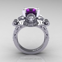 Victorian 14K White Gold 3.0 Ct Asscher Cut Amethyst Diamond Landseer Lion Engagement Ring R867LE-14KWGDAM