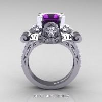 Victorian 14K White Gold 3.0 Ct Asscher Cut Amethyst Diamond Landseer Lion Engagement Ring R867LE-14KWGDAM