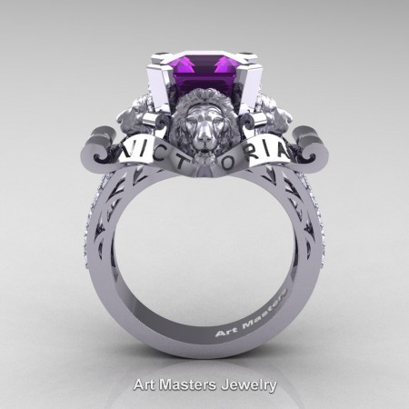 Victorian-14K-White-Gold-3-0-Carat-Asscher-Cut-Amethyst-Diamond-Landseer-Lion-Engagement-Ring-R867LE-14KWGDAM-F
