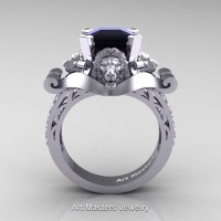 Victorian 14K White Gold 3.0 Ct Asscher Cut Black and White Diamond Landseer Lion Engagement Ring R867-14KWGDBD
