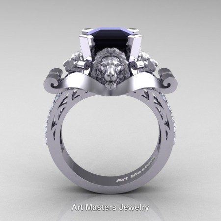 Victorian-14K-White-Gold-3-0-Carat-Asscher-Cut-Black-and-White-Diamond-Landseer-Lion-Engagement-Ring-R867-14KWGDBD-F