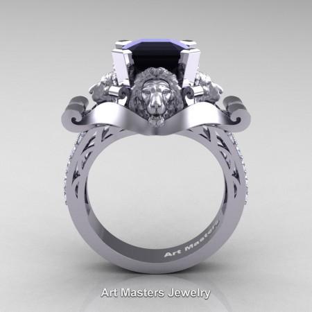 Victorian-14K-White-Gold-3-0-Carat-Asscher-Cut-Black-and-White-Diamond-Landseer-Lion-Engagement-Ring-R867-14KWGDBD-F