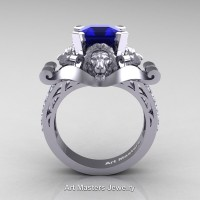 Victorian 14K White Gold 3.0 Ct Asscher Cut Blue Sapphire Diamond Landseer Lion Engagement Ring R867-14KWGDBS