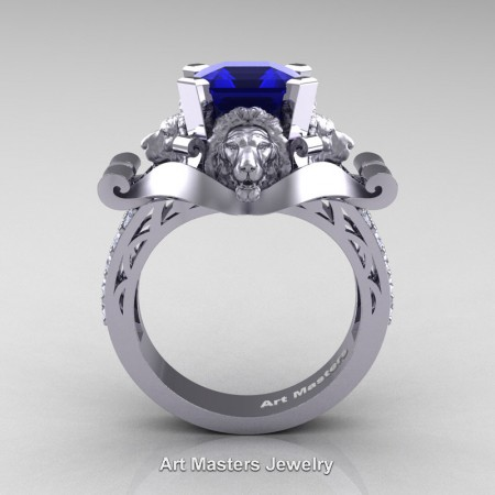 Victorian-14K-White-Gold-3-0-Carat-Asscher-Cut-Blue-Sapphire-Diamond-Landseer-Lion-Engagement-Ring-R867-14KWGDBS-F
