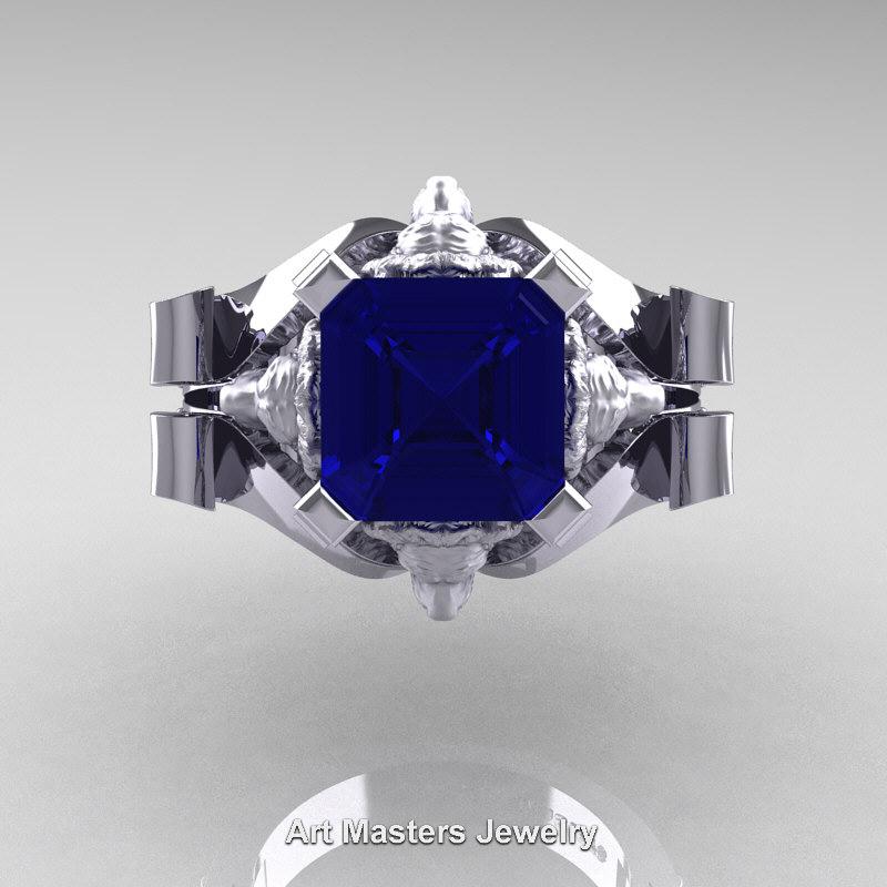 Victorian 14k White Gold 3 0 Ct Asscher Cut Blue Sapphire