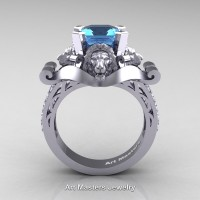 Victorian 14K White Gold 3.0 Ct Asscher Cut Blue Topaz Diamond Landseer Lion Engagement Ring R867-14KWGDBT