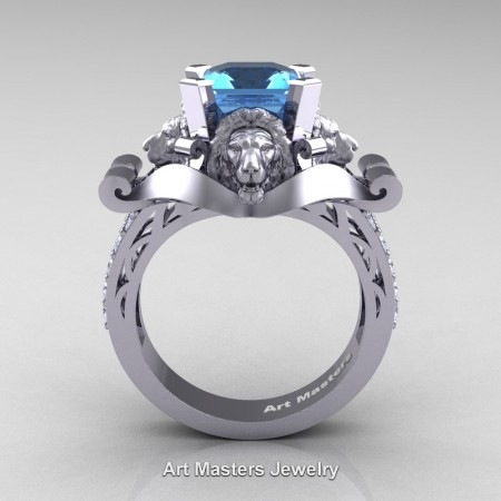 Victorian-14K-White-Gold-3-0-Carat-Asscher-Cut-Blue-Topaz-Diamond-Landseer-Lion-Engagement-Ring-R867-14KWGDBT-F