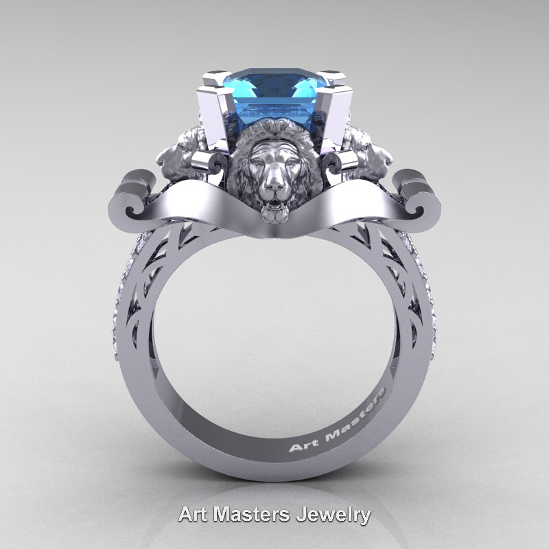 victorian topaz white lion carat f cut landseer ring ct blue diamond asscher ascher product engagement gold