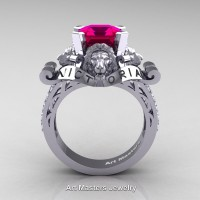 Victorian 14K White Gold 3.0 Ct Asscher Cut Rose Ruby Diamond Landseer Lion Engagement Ring R867LE-14KWGDRR