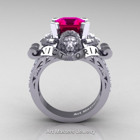 Victorian-14K-White-Gold-3-0-Carat-Asscher-Cut-Rose-Ruby-Diamond-Landseer-Lion-Engagement-Ring-R867LE-14KWGDRR-F