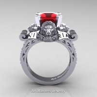 Victorian 14K White Gold 3.0 Ct Asscher Cut Ruby Diamond Landseer Lion Engagement Ring R867LE-14KWGDR