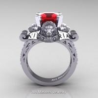 Victorian 14K White Gold 3.0 Ct Asscher Cut Ruby Diamond Landseer Lion Engagement Ring R867LE-14KWGDR
