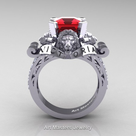 Victorian-14K-White-Gold-3-0-Carat-Asscher-Cut-Ruby-Diamond-Landseer-Lion-Engagement-Ring-R867LE-14KWGDR-F