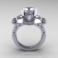 Victorian 14K White Gold 3.0 Ct Asscher Cut White Sapphire Diamond Landseer Lion Engagement Ring R867-14KWGDWS