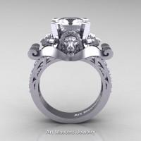 Victorian 14K White Gold 3.0 Ct Asscher Cut White Sapphire Diamond Landseer Lion Engagement Ring R867-14KWGDWS