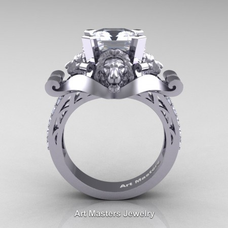 Victorian-14K-White-Gold-3-0-Carat-Asscher-Cut-White-Sapphire-Diamond-Landseer-Lion-Engagement-Ring-R867-14KWGDWS-F