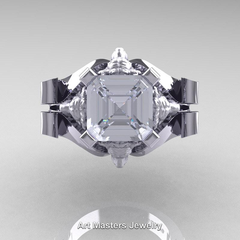 Lovely Victorian 14K White Gold 3.0 Ct Asscher Cut White Sapphire Diamond  DD27