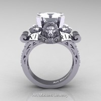Victorian 14K White Gold 3.0 Ct Asscher Cut White Sapphire Diamond Landseer Lion Engagement Ring R867LE-14KWGDWS
