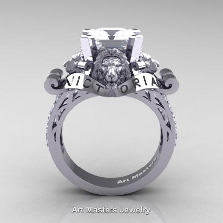 Victorian-14K-White-Gold-3-0-Carat-Asscher-Cut-White-Sapphire-Diamond-Landseer-Lion-Engagement-Ring-R867LE-14KWGDWS-F