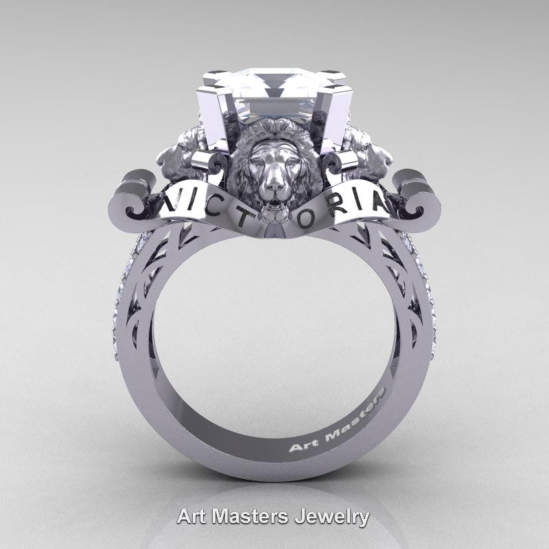 Victorian 14K White Gold 3.0 Ct Asscher Cut White Sapphire ...