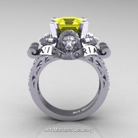 Victorian 14K White Gold 3.0 Ct Asscher Cut Yellow Sapphire Diamond Landseer Lion Engagement Ring R867LE-14KWGDYS
