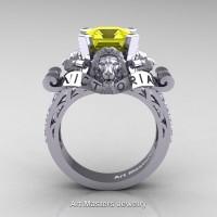 Victorian 14K White Gold 3.0 Ct Asscher Cut Yellow Sapphire Diamond Landseer Lion Engagement Ring R867LE-14KWGDYS