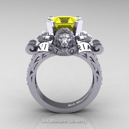 Victorian-14K-White-Gold-3-0-Carat-Asscher-Cut-Yellow-Sapphire-Diamond-Landseer-Lion-Engagement-Ring-R867LE-14KWGDYS-F