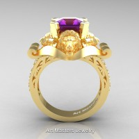 Victorian 18K Yellow Gold 3.0 Ct Asscher Cut Amethyst Diamond Landseer Lion Engagement Ring R867-18KYGDAM