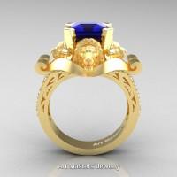 Victorian 18K Yellow Gold 3.0 Ct Asscher Cut Blue Sapphire Diamond Landseer Lion Engagement Ring R867-18KYGDBS