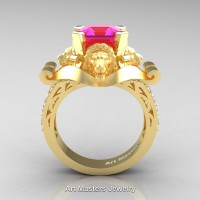 Victorian 18K Yellow Gold 3.0 Ct Asscher Cut Pink Sapphire Diamond Landseer Lion Engagement Ring R867-18KYGDPS