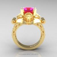 Victorian 18K Yellow Gold 3.0 Ct Asscher Cut Pink Sapphire Diamond Landseer Lion Engagement Ring R867-18KYGDPS