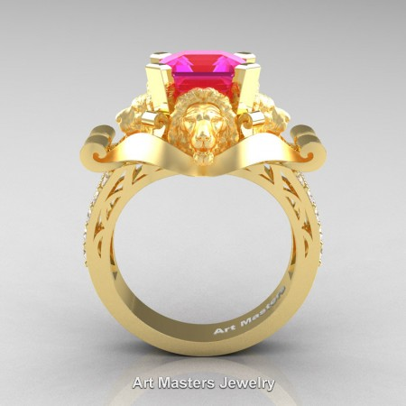 Victorian-18K-Yellow-Gold-3-0-Carat-Asscher-Cut-Pink-Sapphire-Diamond-Landseer-Lion-Engagement-Ring-R867-18KYGDPS-F
