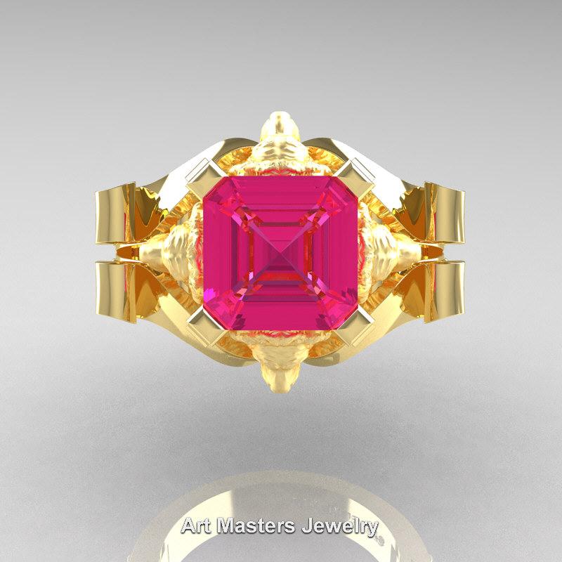 Victorian 18k Yellow Gold 3 0 Ct Asscher Cut Pink Sapphire