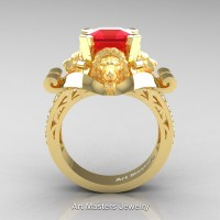 Victorian 18K Yellow Gold 3.0 Ct Asscher Cut Ruby Diamond Landseer Lion Engagement Ring R867-18KYGDR