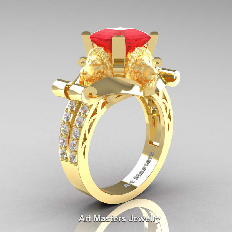 victorian 18k yellow gold 30 ct asscher cut ruby diamond