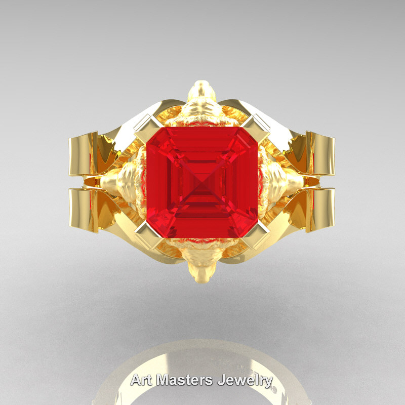 Victorian 18k Yellow Gold 3 0 Ct Asscher Cut Ruby Diamond
