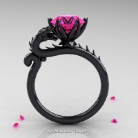 Art Masters 14K Black Gold 3.0 Ct Pink Sapphire Dragon Engagement Ring R801-14KBGPS