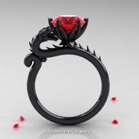 Art Masters 14K Black Gold 3.0 Ct Ruby Dragon Engagement Ring R801-14KBGR