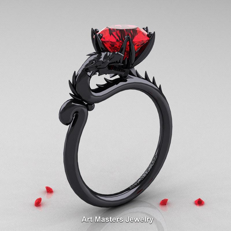 Art Masters 14k Black Gold 3 0 Ct Ruby Dragon Engagement