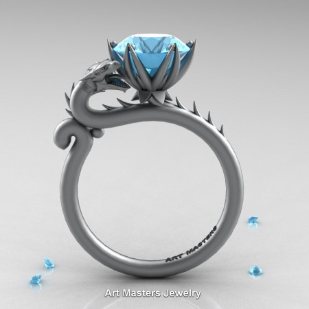Art-Masters-Jewelry-14K-Grey-Gold-3-Carat-Aquamarine-Dragon-Engagement-Ring-R801-14KGRGAQ-F