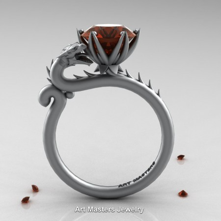 Art-Masters-Jewelry-14K-Grey-Gold-3-Carat-Brown-Diamond-Sand-Blaster-Dragon-Engagement-Ring-R801-14KGRGBRD-F