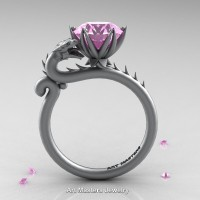 Art Masters 14K Grey Gold 3.0 Ct Light Pink Sapphire Dragon Engagement Ring R801-14KGRGLPS