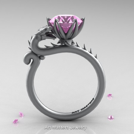 Art-Masters-Jewelry-14K-Grey-Gold-3-Carat-Light-Pink-Sapphire-Dragon-Engagement-Ring-R801-14KGRGLPS-F