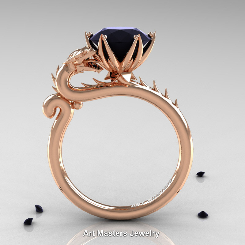 Art Masters 14k Rose Gold 3 0 Ct Black Diamond Dragon