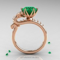 Art Masters 14K Rose Gold 3.0 Ct Emerald Dragon Engagement Ring R801-14KRGEM