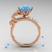 Art Masters 14K Rose Gold 3.0 Ct Paradise Blue Topaz Dragon Engagement Ring R801-14KRGT
