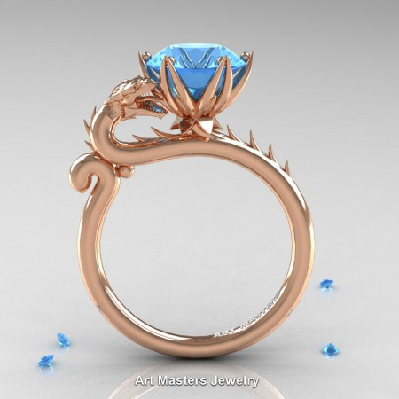 Art-Masters-Jewelry-14K-Rose-Gold-3-Carat-Paradise-Blue-Topaz-Dragon-Engagement-Ring-R801-14KRGBT-F