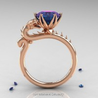 Art Masters 14K Rose Gold 3.0 Ct Russian Alexandrite Dragon Engagement Ring R801-14KRGBTAL